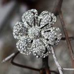 Rhinestone flower brooch, flower br..