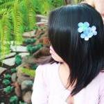 hydrangea hair clip, blue hydrangea..