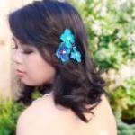blue velvet hydrangea flower hair c..