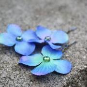 hydrangea hair clip, blue hydrangea clip, flower hair clip