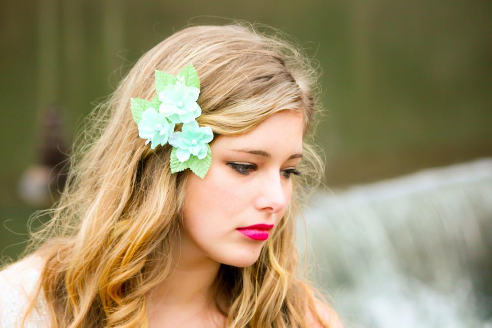 cherry blossom hair clip, sea foam flower clip, flower girl hair clip