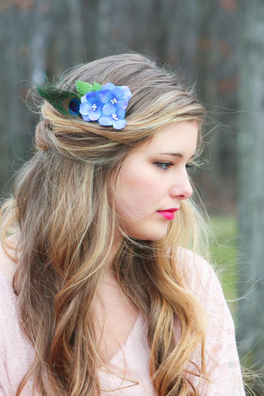 Blue Hydrangea Hair Comb Peacock Feather Flower Comb Bridesmaid Hair Comb