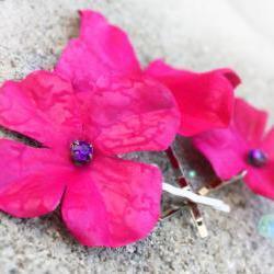 pink hydrangea bobbies, hydrangea hair clip, pink hair clip