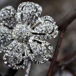 Rhinestone flower brooch, flower brooch, rhinestone brooch