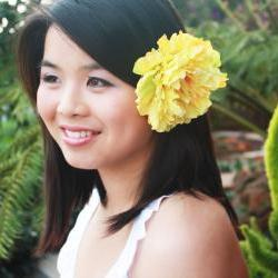 Sunbeam - sunshine yellow peony blossom hair clip