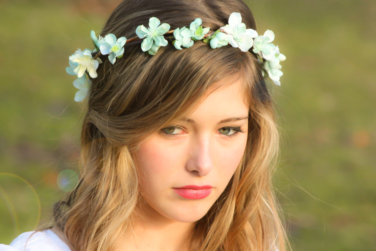 Bridal Flower Hair Wedding Accessories Headpiece Head Wreath In Seafoam
